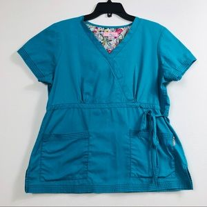 KOI BY KATHY PETERSON SCRUB TOP TEAL BLUE LARGE